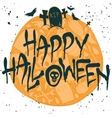 Halloween poster with silhouettes of gravestones vector image