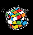 hand drawn mathematical rubiks cube vector image vector image