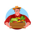 happy farmer holding wooden box full fresh vector image vector image
