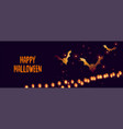 happy halloween banner with glowing bats