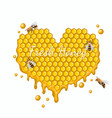 heart made honeycombs with bees vector image vector image