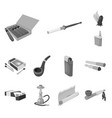 isolated object equipment and smoking logo set vector image vector image