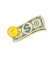 isometric paper money and golden coin icon vector image