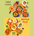 italian spanish and japanese cuisine dishes icon vector image vector image