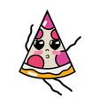 kawaii cute tender slice pizza food vector image