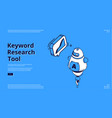 keyword research tool banner with isometric chart vector image vector image