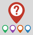 map pointer with question icon on grey background vector image vector image
