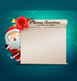 Merry christmas happy new year card with santa vector image
