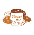 raw almond nut set in various color almond milk vector image