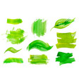 set green watercolor design stickers vector image vector image