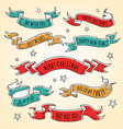 set of colored holiday ribbons starsinscriptions vector image vector image