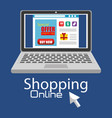 shopping online with laptop computer vector image vector image