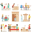 Smiling Shoppers In Furniture Shop Shopping For vector image