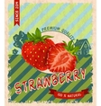 Strawberry retro poster vector image vector image