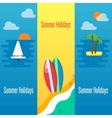 Summer Holidays Banner with Surfboards on Sand vector image