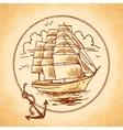 Tall ship emblem vector image vector image