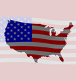 usa map silhouette and flag vector image