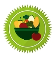 vegetables bowl vegan healthy food label vector image vector image