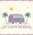 Vintage summer surf print with a mini van palm vector image