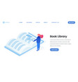 virtual library landing page isometric template vector image vector image