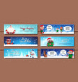 winter holidays horizontal banners with cartoon vector image vector image
