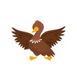 young brown duck with wide open wings farm bird vector image vector image
