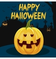 halloween pumpkin with scary face vector image