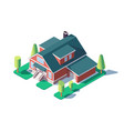 3d isometric large residential building with green vector image vector image