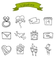 art of valentine icons vector image vector image