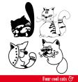 band of four funky cats vector image vector image