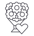 bouquet of flowers line icon vector image