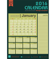Calendar 2016 green color tone design template vector image vector image