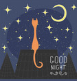 cats on the roof of the night city hand drawn vector image vector image