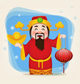 chinese god of wealth holding traditional lantern vector image vector image
