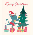 christmas card cute fox on gift box with tree vector image