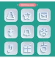 Christmas winter icons in paper style vector image vector image