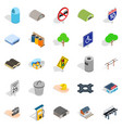 city government icons set isometric style vector image vector image