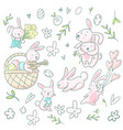 cute girly hand drawn cute bunnies and flowers vector image