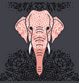 elephant head with a floral ornament vector image vector image