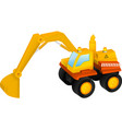 Excavator toy isolated on white vector image