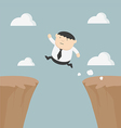 Fat businessman jumping over gap vector image vector image
