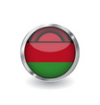 flag of malawi button with metal frame and shadow vector image vector image