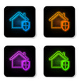 glowing neon house under protection icon isolated vector image