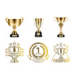 gold goblets and round emblems for winners diploma vector image vector image