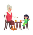 grandmother and granddaughter vector image vector image