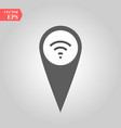 grungy icon with map pointer with wi-fi symbol on vector image