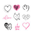 hand drawn cute hearts valentine day design vector image