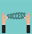 hand pick up success word successful concept vector image vector image