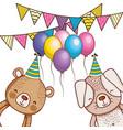 happy birthday cute animals vector image vector image