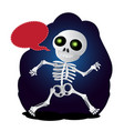 happy cartoon skeleton runs with speech bubble to vector image